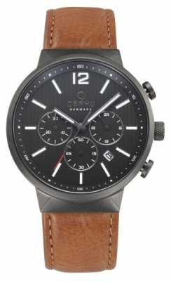 Obaku Mens Storm Brown Leather Watch V180GCUURZ