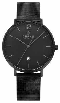 Obaku Mens Toft Charcoal Mesh Strap Watch V181GDBBMB