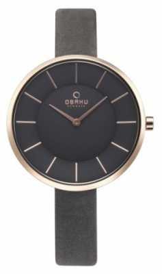 Obaku Womans Grey Leather Watch V185LXVJRJ