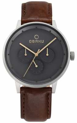 Obaku Mens Venlig Brown Leather Watch V208GMCJRN