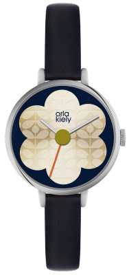 Orla Kiely Womens Silver Case Navy Strap Watch OK2149