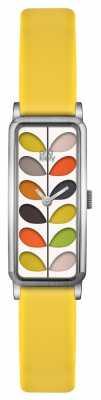 Orla Kiely Womens Stem Gold Case Yellow Strap Watch OK2158
