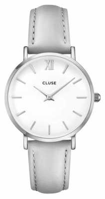 CLUSE Minuit Silver Case With White Dial/grey Strap CL30006