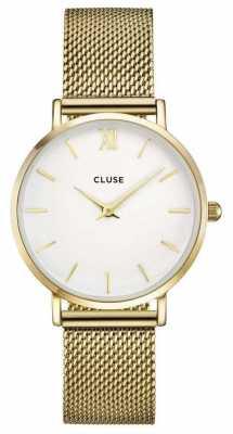 CLUSE Minuit Gold Case White Dial/gold Mesh Strap CL30010