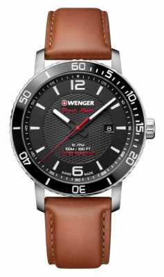 Wenger mens Roadster Black Night Leather Strap Watch 01.1841.105