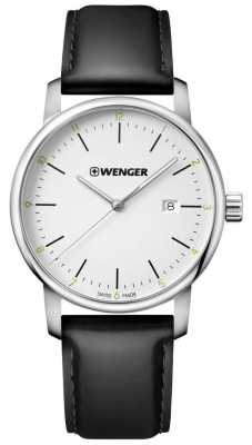 Wenger mens Urban Classic Black Leather Watch 01.1741.109