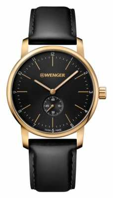 Wenger mens Urban Classic  Black Leather watch 01.1741.101