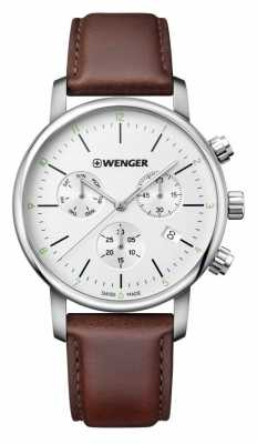 Wenger mens Urban Classic Chrono Brown Leather 01.1743.101