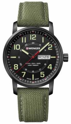 Wenger mens Attitude Green Nylon Watch 01.1541.104