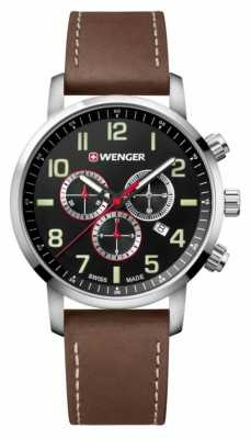 Wenger mens Attitude Chrono Brown Leather Watch 01.1543.103