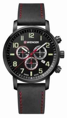 Wenger mens Attitude Chrono Black Leather Watch 01.1543.104