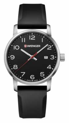 Wenger mens Avenue Black Silicone Strap Watch 01.1641.101