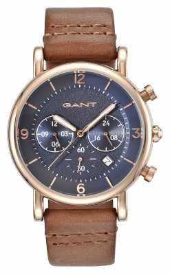 GANT Mens Springfield Brown Leather Strap Blue Dial GT007003