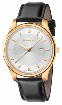 Wenger mens City Classic Black Leather Watch 01.1441.106