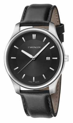 Wenger mens City Classic Black Leather Watch 01.1441.101