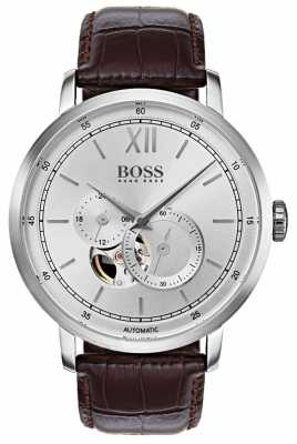 Hugo Boss Mens Signature Automatic Brown Leather Watch 1513505