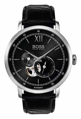 Hugo Boss Mens Signature Automatic Black Leather Watch 1513504