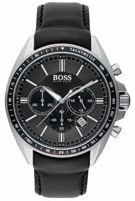 Hugo Boss Mens Driver Sport Black Leather Chronograph 1513085
