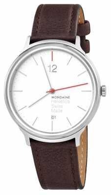 Mondaine Helvetica Spiekermann Light 38mm Brown Leather Strap MH1.L2212.LG