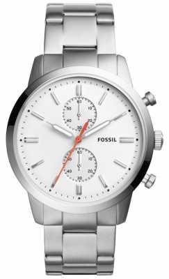 Fossil Mens Townsman Stainless Steel Bracelet White Dial FS5346