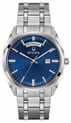 Bulova Mens Classic Stainless Steel Bracelet Blue Dial 96C125