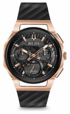 Bulova Mens Curv Chronograph Black Leather Strap 98A185