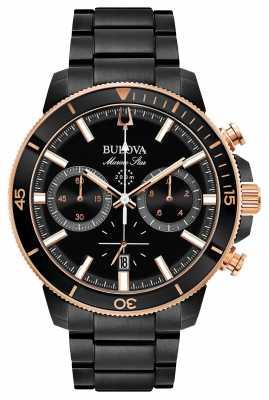 Bulova Mens Marine Star Black Chronograph Watch 98B302