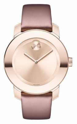 Movado Womans Bold Carnation Soft Rose And Gold Leather 3600457