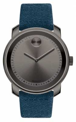 Movado Unisex Large Bold Grey Ion Plated Blue Suede 3600454