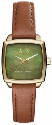 Armani Exchange Womans Nicolette Green Dial Brown Leather Strap AX5451