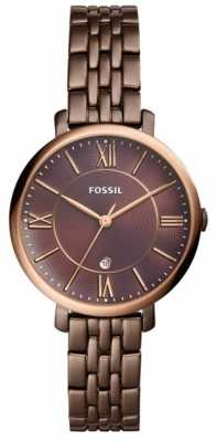 Fossil Womans Jacqueline Brown Stainless Steel Watch ES4275