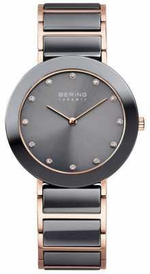 Bering Womans Ceramic Grey With Rose Gold Tone 11435-769