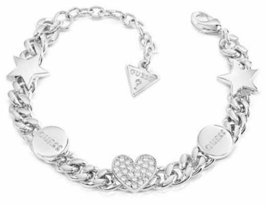 Guess Love Chain Silver Crystal Bracelet UBB84075-L