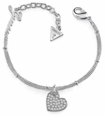 Guess My Sweetie Heart Charm Bracelet Rhodium UBB84077-L