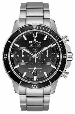 Bulova Mens Marine Star Black Chronograph Watch 96B272