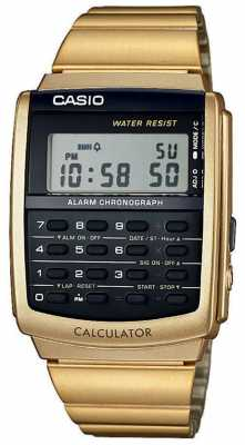 Casio Unisex Alarm Chronograph Gold Tone Calculator Alarm Chrono CA-506G-9AEF