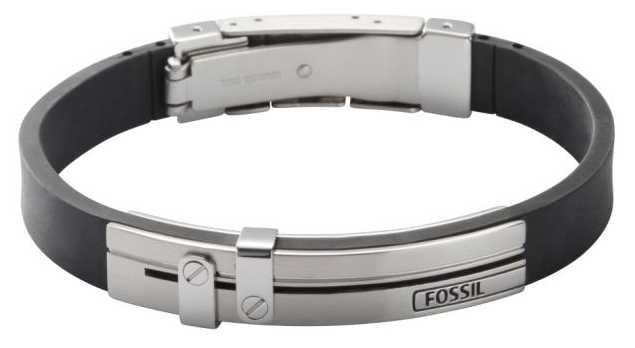 Fossil Mens Black Polyurethane Stainless Steel Bracelet JF85096040