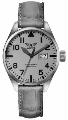 Aviator Mens Airacobra P42 Grey Leather Strap Grey Dial V.1.22.0.150.4