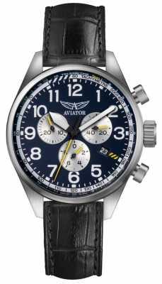 Aviator Mens Airacobra P45 Chrono Black Leather Strap Blue Dial V.2.25.0.170.4
