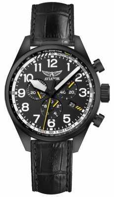 Aviator Mens Airacobra P45 Chrono Black Leather Strap Black Dial V.2.25.5.169.4
