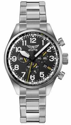 Aviator Mens Airacobra P45 Chrono Stainless Steel Bracelet Black Dia V.2.25.0.169.5