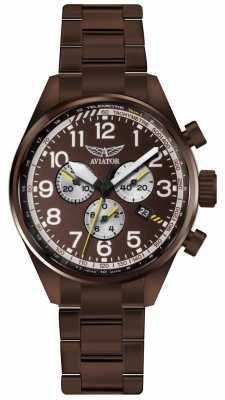 Aviator Mens Airacobra P45 Chrono Bronze PVD Bracelet Brown Dial V.2.25.8.172.5
