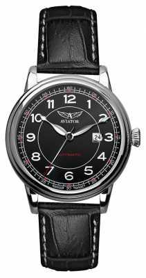 Aviator Mens Douglas Automatic Black Leather Strap Black Dial V.3.09.0.107.4