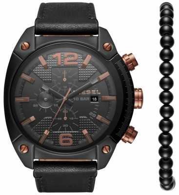 Diesel Mens Overflow Watch Bracelet Gift Set Black DZ4462