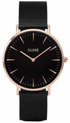 CLUSE Womans La Bohème Rose Gold Black Mesh Bracelet CL18034