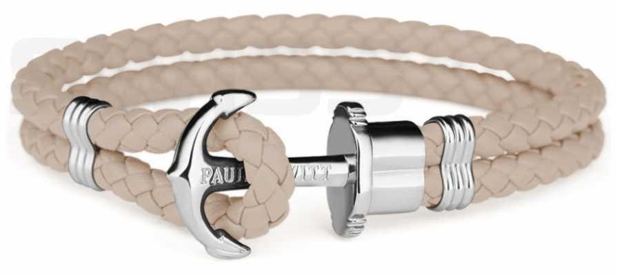 Paul Hewitt Jewellery Phrep Silver Anchor Hazlenut Leather Bracelet Large PH-PH-L-S-H-L