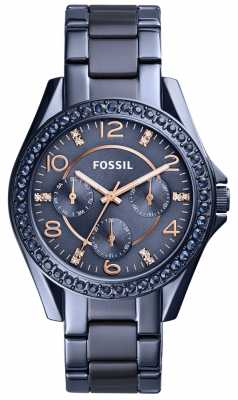 Fossil Womens Riley Blue Stainless Steel Watch ES4294