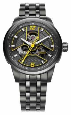 FIYTA Mens Black IP Watch With Yellow Acents GA866000.BBB