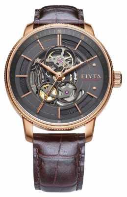 FIYTA Mens Photographer Brown Leather Auto Watch GA860016.PHK