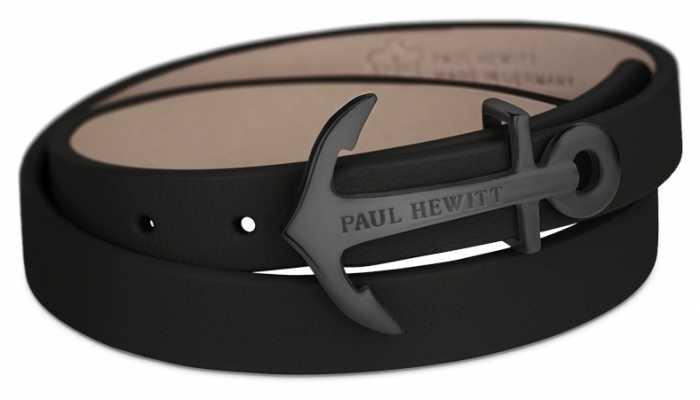Paul Hewitt Jewellery Northbound Black Anchor Black Leather Bracelet Large PH-WB-B-2M